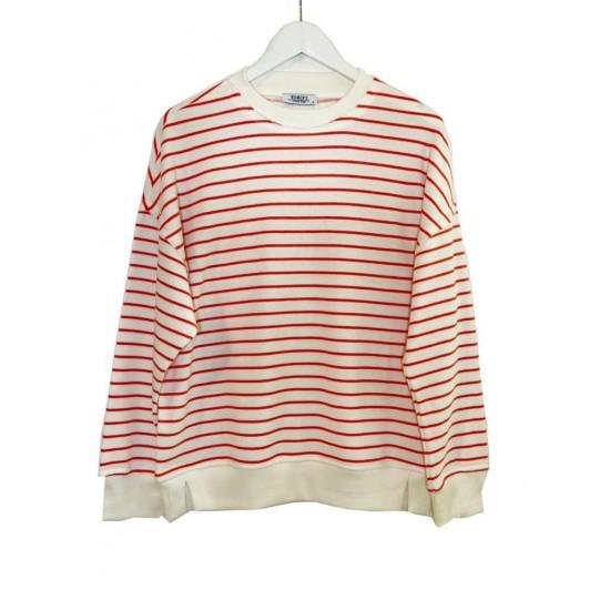 Kırmızı Çizgili Sweatshirt