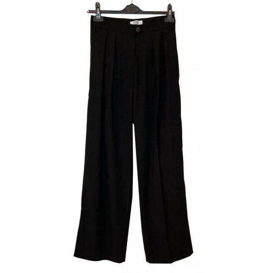 Siyah Bol Kesim Klasik Pantolon